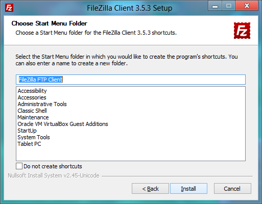 FileZilla installer: Setting Start Menu folder
