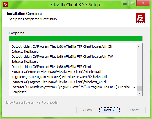 FileZilla Installer: Done