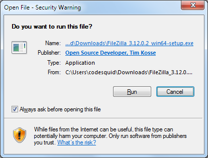 FileZilla installer: Prompt 1