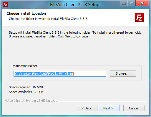 FileZilla installer: Install target