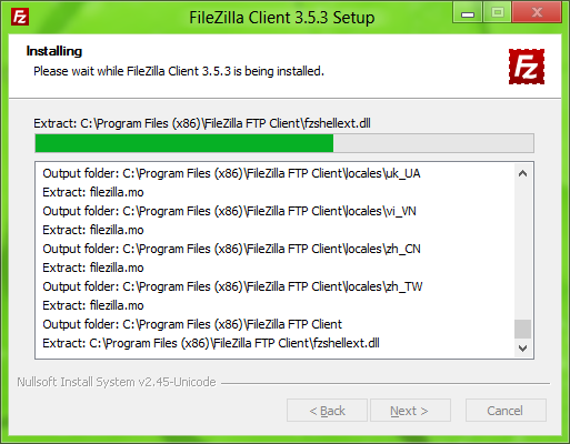 FileZilla installer: Setup progress, detailed