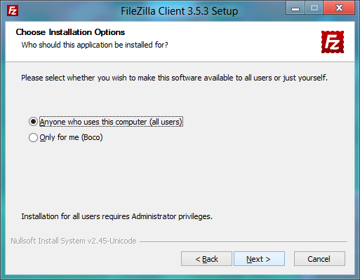 FileZilla installer: Installing for me or all