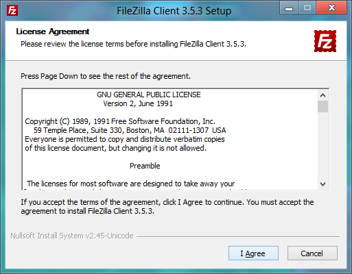 FileZilla installer: License agreement