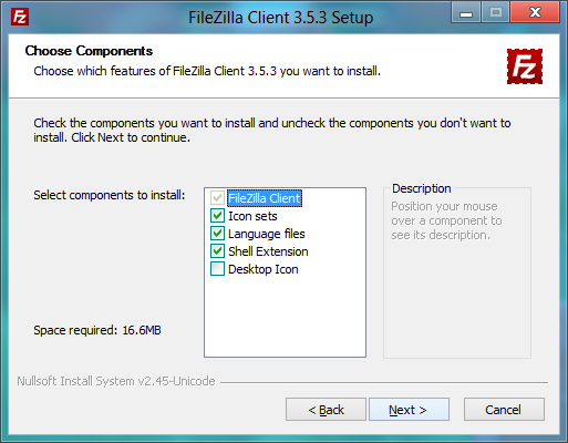 FileZilla installer: Choosing components