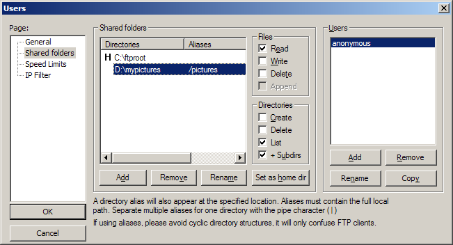 How to set shared directory and permissions for user